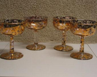 Rare Vintage Gold Speckled Champagne Stem Glasses Set of Four