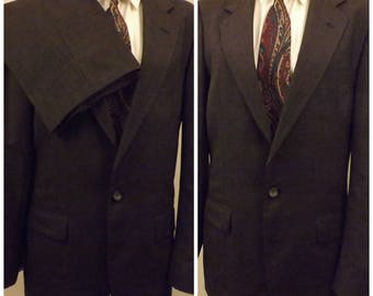 70's Vintage C H Barclay Gray Worsted Wool Men's Suit Size 40R