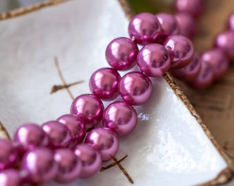 Vintage Pearl Beads Japan Cranberry Pink Acrylic Round Pearls Beads 10mm