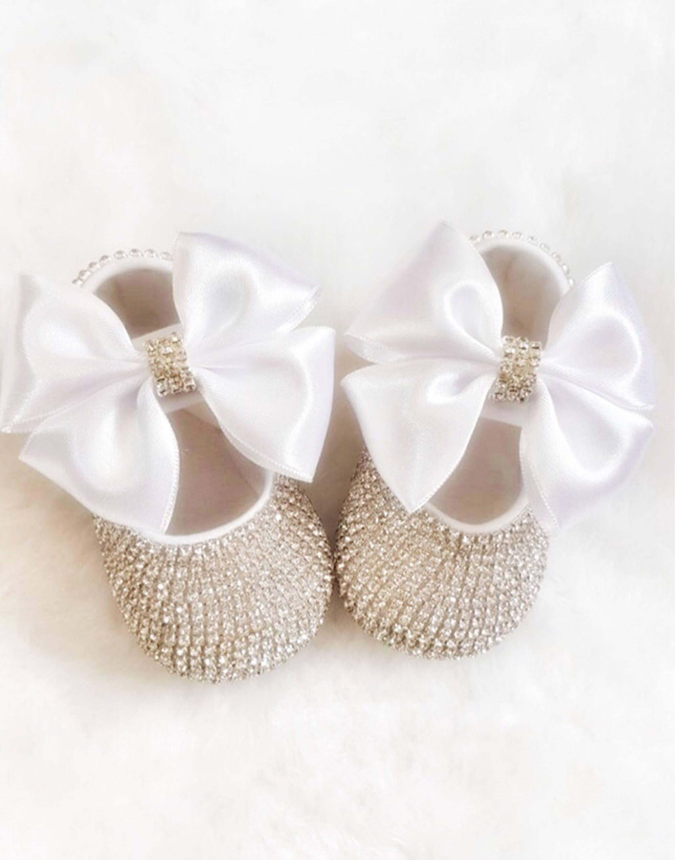 Handmade Swarovski Crystals Cute Baby Shoes in White Luxury
