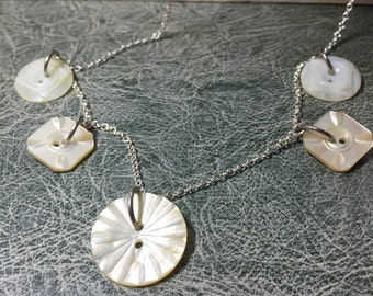 SALE! Antique mother of pearl buttons necklace