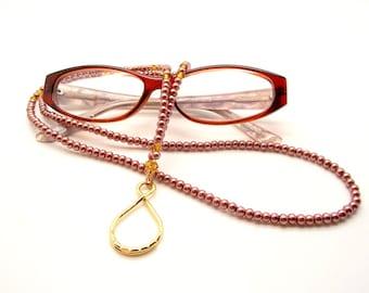 Eyeglass Holder – Creamy Chocolate Pearl and Crystal Topaz Beaded Eyeglass Holder - 35 inches
