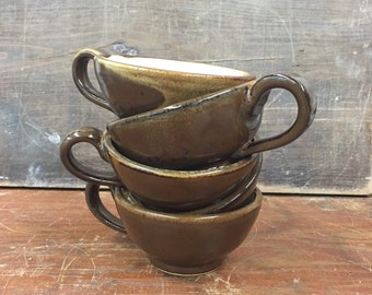 Set of 5 brown and white Wheel Thrown Pottery Tea or Cappuccino cups 7 oz