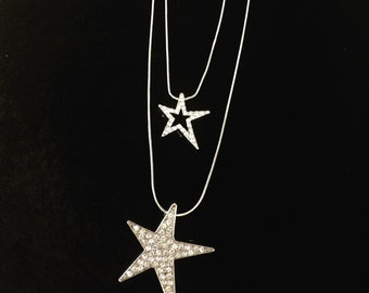 Double Long Crystal Star Necklace