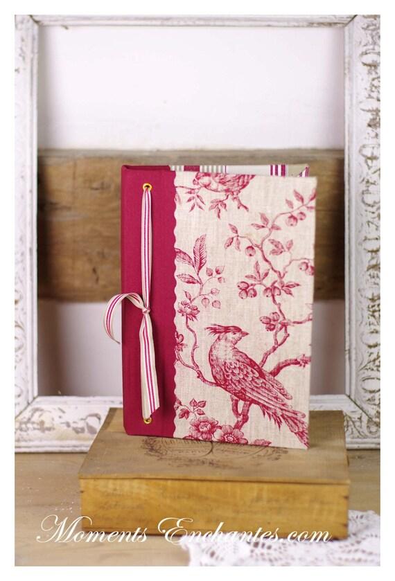 """Carnet des invites  """" L'art de vivre à la française """" Bird  Guest book linen toile de jouy mothers' Day"""