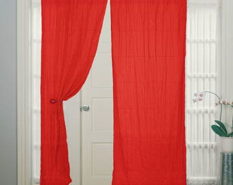 Red Curtain for Bedroom Dining Room, Tie Top, Cotton Window, & Door Curtan
