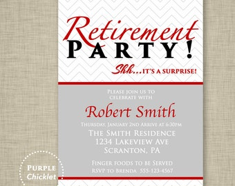 Red Surprise Retirement Party Invitation Farewell Celebration Gray Masculine Birthday Invitation Mans Event Printable Invite 5x7 Digital 7b