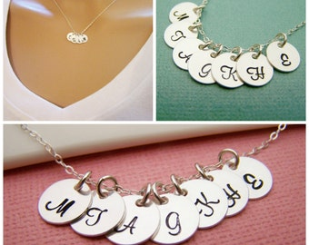 SEVEN Initial Necklace - Tiny silver initial necklace - mothers necklace - grandma necklace - hand stamped initials - childrens initials