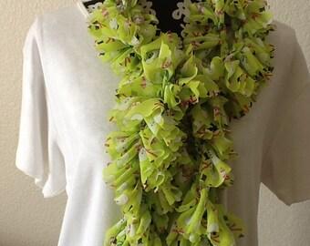 Ready to Ship Ladies Lime Green Snowman Fabric Ruffle Infinity Scarf  Ruffles Ruffled Crochet Handmade Trendy