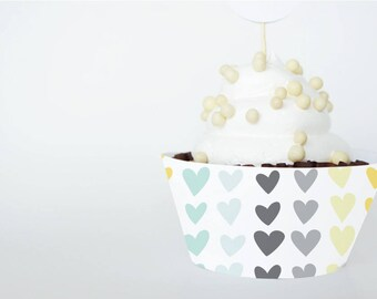 Printable Cupcake Wrapper, LOVE THEME for Birthdays or Showers, Instant Download, Big Hearts