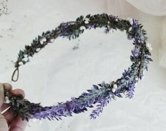 Flower Crown, Boho Wedding, Lavender hair crown, Floral Crown, Flower Head Piece, Flower Hair Accessory, Wedding Crown, Lavender Crown