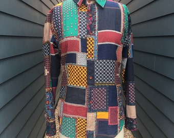 1970s Patchwork printed Button up // Patchwork Shirt // Vintage Button up