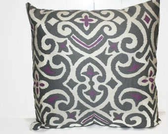 Waverly Purple and Gray  16x16 Pillow Cover