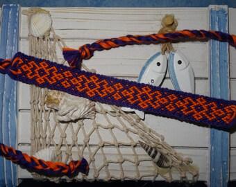 """""""Cheerful"""" Friendship Bracelet in dark purple and neon orange"""