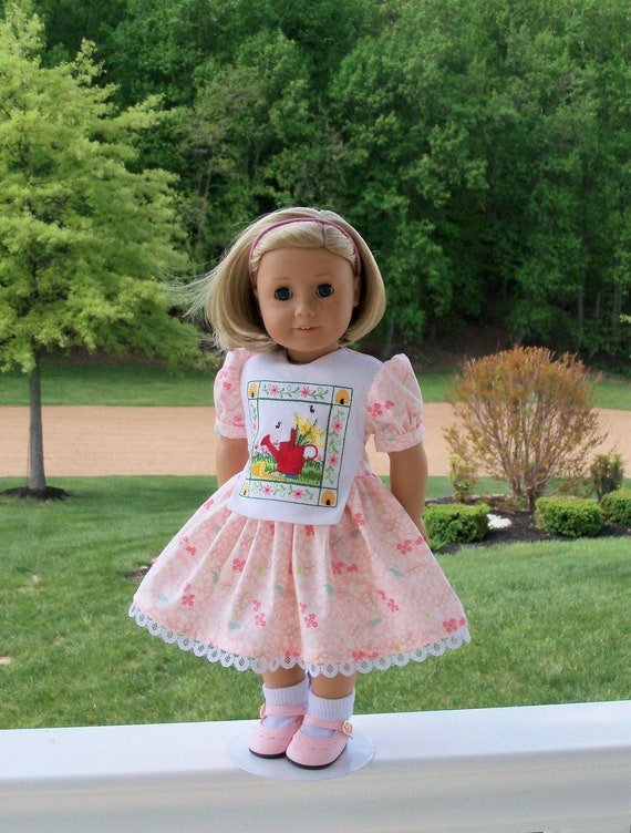 "Like American Girl Doll Clothes / Farmcookies Embroidered Dress and Shoes for 18"" Dolls / 18"" Doll Clothes"