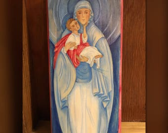 Mary And Jesus Hand Painted Acrylic Wood Block - Made to Order