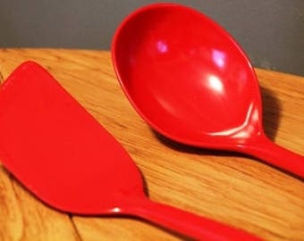 Red Copco cooking utensils spoon spatula USA #653, #644