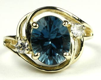 Concave London Blue Topaz, 14KY Gold Ring, R021