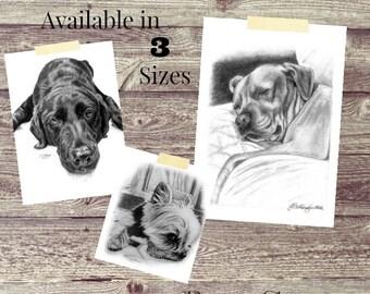 Pet Portrait Pet Memorial Dog Lover Gift Custom Pet Portrait Print Art
