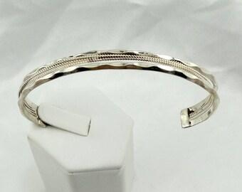 Simple Southwest Native American Sterling Silver Sculpted Cuff Bracelet  #SCULPTED-CF2