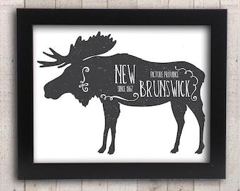 New Brunswick Moose Decor -  Antler Canadian Art - Hunting Lodge Cabin Decor - Maritimes Moncton Saint John Fredericton Mirimichi Art