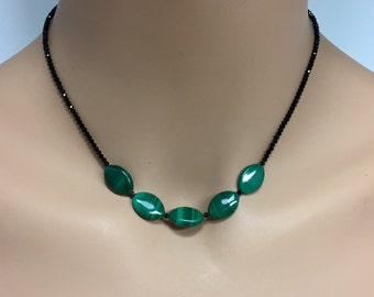 Black Spinel and Malachite Necklace in Sterling Silver