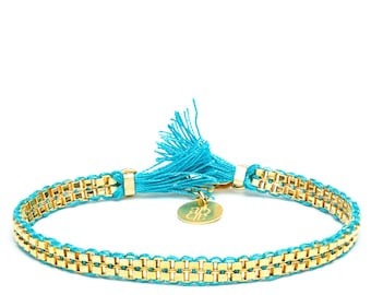 Bracelet turquoise and gold for women