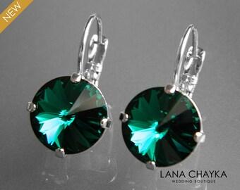 Emerald Crystal Earrings Green Round Crystal Earrings Swarovski Emerald Rivoli Silver Earrings Dark Green Crystal Leverback Wedding Earrings