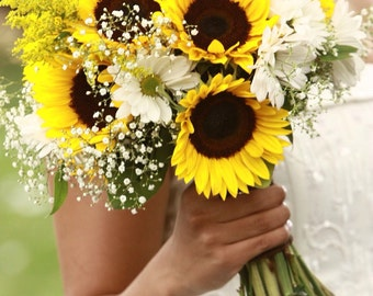Sunflower Bridal Bouquet/Sunflower and Gerbera Daisy Bridal Bouquet