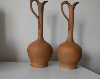Beautiful pair of large pottery,ceramics jugs,pitchers ,1850s