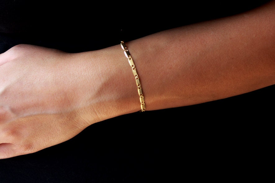 Delicate gold bracelet 24k gold beacelet dainty gold