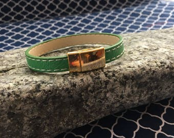 Green stitched leather bracelet