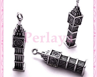 Set of 20 large silver Big Ben REF2591X4 charms