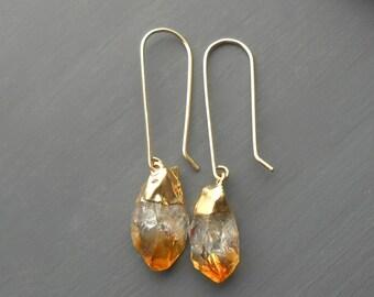 Citrine Earrings, Raw Stone Gold Dangle Earrings, Gold Filled Ear Wires