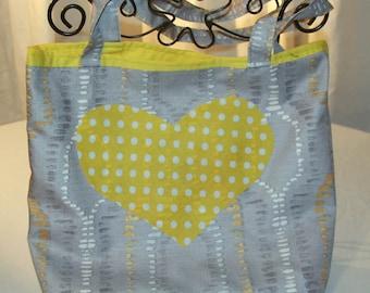 Tote Bag, Handmade, Reusable, Shopping Bag, Tote, Market Bag, Lined Shopping Tote, Yellow Heart