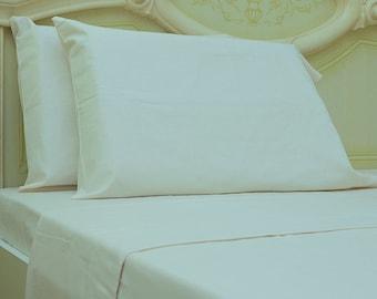 Goza Cotton 190 Gram Heavyweight Flannel Sheet Set Queen - Cream