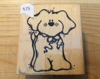 D.o.t.s. Wooden stamp Q 146 wags the puppy