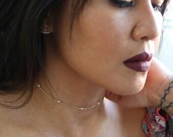CZ Diamond Bezel Choker Necklace   Gold