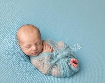 Blue Mohair Wrap, Newborn Photo Prop, Newborn Wrap, Mohair Wrap, Blue Mohair Wrap