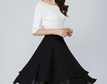black skater skirt, chiffon skirt, high waisted skirt, cute skirt, swing skirt, summer skirt women, pleated skirt, handmade skirt 1564