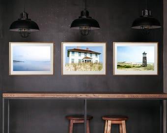 Outer Banks Sandy Beach Sunrise Fishing Coast Guard Photography Print Set, Large Format Photo Prints, Matted Photo Set of 3, Ocean Print Set
