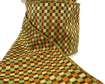 "Moss Green Orange Black & Beige Check Wired Ribbon  4"" Wide"
