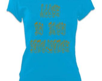 Ladies Yoga Slogan T-Shirt Top 'Handstands Make me Happy' Inspiration Slogan Tee - Blue
