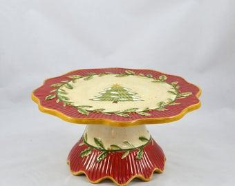 Vintage Ceramic Christmas Cake Stand