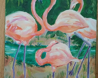 Small FLAMINGO painting 9 x 12 unframed, wrap around canvas, painted on sides