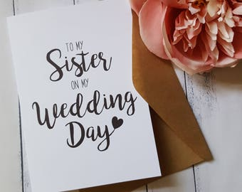 To my Sister on my Wedding Day card | To my Parents on my Wedding Day Card | Wedding Card | To my Mother on my Wedding Day Card