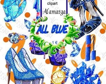 Clipart Shoe Blue,Watercolor Hand Painted Shoes Blue Clipart For 1 euro,Digital Shoe,Printable,Shoe Moda,Shoe Glamour,Woman,Pret-a-Porte
