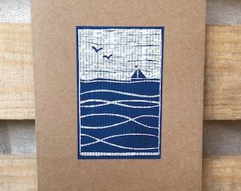 Hand Lino printed greetings card -Sailing boat + text