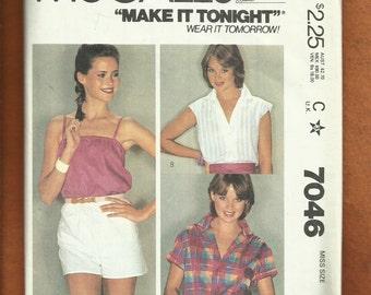 1980's McCalls 7046 Summer Blouses & Tops Size Medium 14/16