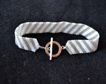 Silver & White Stripe Bracelet w/ Sterling Silver Toggle Clasp